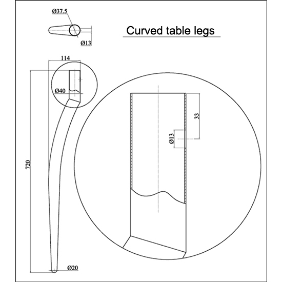 Curved table legs